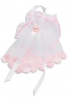 Kerzenmanschette Tüll Rosa weiß 11 cm Tropfschutz für Taufkerzen Mädchen