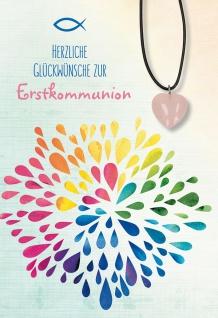Glückwunschkarte Edelstein-Anhänger aus Rosenquarz Erstkommunion 5 Stück Kuvert