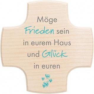 Haussegen Möge Frieden in eurem Haus, Holz blau 13 cm