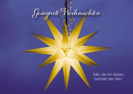 Postkarte Gesegnete Weihnachten Stern (10 Stück) Bibelwort Adressfeld