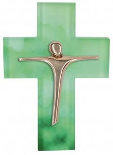 Glaskreuz Kruzifix Kreuz Bronzekorpus Anke Cöhnen Jesus Glaube Wandkreuz
