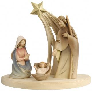 Weihnachtskrippe Heilige Familie Holz Figur handbemalt Südtiroler Schnitzkunst