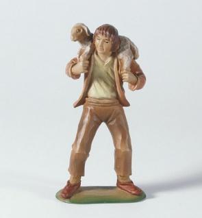 Tiroler Krippe Hirte Schulterschaf bemalt 15 cm Krippen Figur Weihnachten - Vorschau
