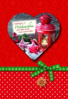 Weihnachtskarte mit Herzheft, Fröhliche... (6 Stck)