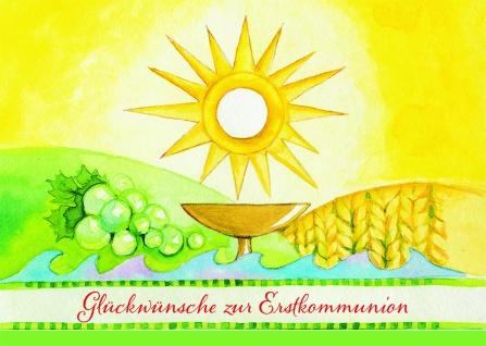 Kommunionkarte Glückwünsche zur Erstkommunion (6 St) Kommunion Grußkarte Kuvert