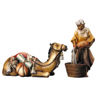 Kamelgruppe liegend 2 Teile Holzfigur geschnitzt Südtirol Krippenfigur
