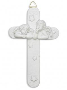 Kinderkreuz Putten Kunstguss weiß 13, 5 x 8, 5 cm