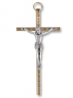 Wandkreuz Metall Kreuz 11 cm Körper goldfarben Kruzifix Metallkreuz Korpus