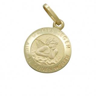 Engel Anhänger Schmuck Gottes Segen 1 cm Gold 8Kt Taufgeschenk