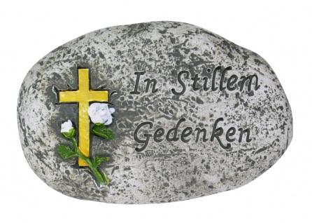 Gedenkstein In stillem Gedenken grau 10, 5 cm Grabschmuck Grabdekoration