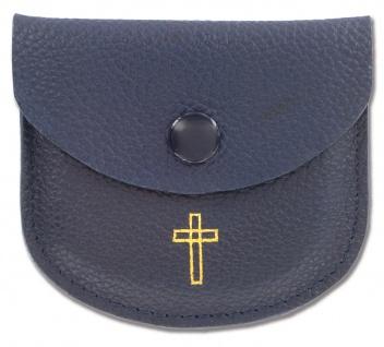 Rosenkranz Etui Kreuz Leder dunkelblau Gold Kommunion Tasche Erstkommunion