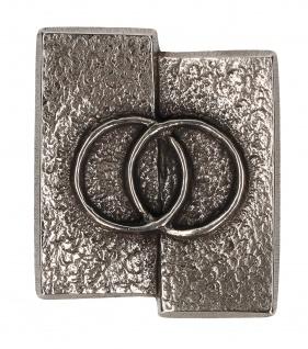 Kreuz-Plakette Eheringe aus Neusilber 5, 5 cm zum Aufhängen und Hinlegen