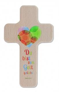 Kreuz für Kinder Von Gott geliebt Kruzifix Holz-Kreuz Geschenkbox Wandkreuz