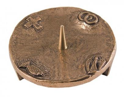 Kerzenleuchter 4 christliche Symbole 11 cm Bronze Fisch, Taube, Kreuz, Eheringe