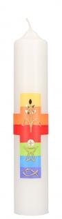 Kommunionkerze Kreuz Kelch Fisch Ähre 26, 5 cm Erstkommunion Kerze zur Kommunion