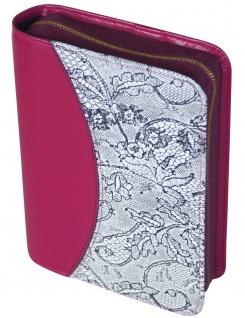Gotteslobhülle Rindleder Pink mit Spitze Gesangbuch Einband Katholisch