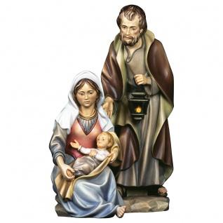 Die Heilige Familie 3 Teile Holzfigur geschnitzt Krippenfigur