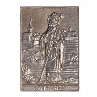 Namenstag Gottfried 8 x 6 cm Bronzeplakette Bronzerelief Wandbild Schutzpatron