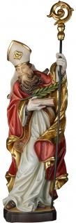 Heiliger Faustinianus mit Palme Holzfigur geschnitzt Südtirol Bischof