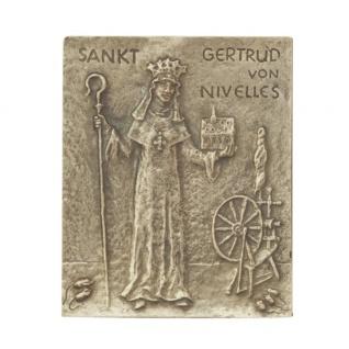 Namenstag Gertrud Bronzeplakette 13 x 10 cm Bronzerelief Wandbild Schutzpatron