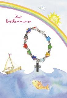 Glückwunschkarte mit Armband Zur Erstkommunion (5 St) Kinder im Boot I. Erath