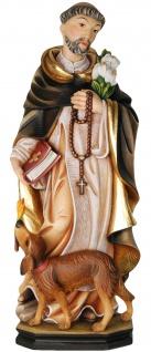 Heiliger Dominikus mit Hund Holzfigur geschnitzt Südtirol Schutzpatron