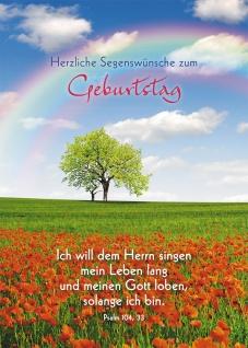 Postkarte Herzliche Segenswünsche zum Geburtstag (10 St) Regenbogen Lutherbibel