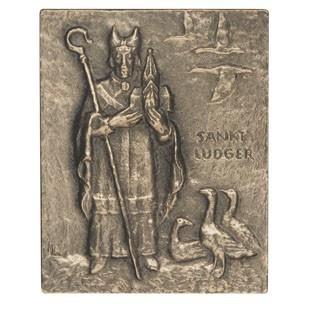 Namenstag Ludger 13 x 10 cm Bronzerelief Wandbild Schutzpatron