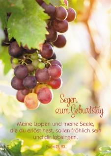 Glückwunschkarte Geburtstag Psalm Weintrauben 6 St Kuvert Bibelwort Erlösung - Vorschau