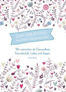 Postkarte Geburtstag Glückwünsche Blumen 10 St Adressfeld Gesundheit Segen