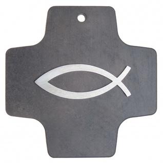 Wandkreuz Schiefer Fisch Ichthys Edelstahl Auflage 10 cm Kruzifix Christlich