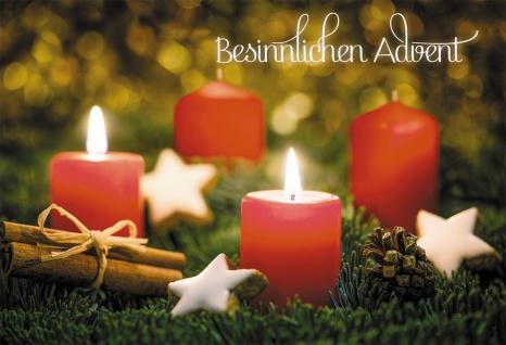 Glückwunschkarte Besinnlichen Advent (6 St) Adventskranz Kuvert Grußkarte