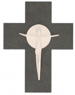 Wandkreuz Schiefer Korpus Porzellan 17 cm Kruzifix Kreuz