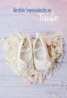 Glückwunschkarte Herzliche Segenswünsche zur Taufe (6 St) Weiße Taufschühchen