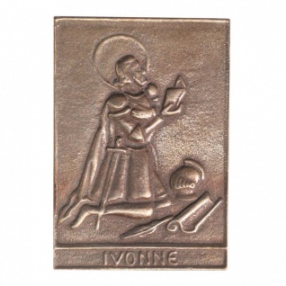 Namenstag Ivonne 8 x 6 cm Bronzeplakette Bronzerelief Wandbild Schutzpatron