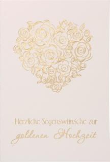 Glückwunschkarte Goldene Hochzeit 6 St Kuvert Psalm Herz Rosen Liebe Treue