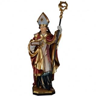Heiliger Hartmann mit Kelch Holzfigur geschnitzt Südtirol Schutzpatron Bischof