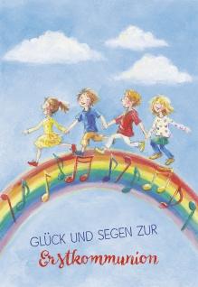 Glückwunschkarte Glück und Segen zur Kommunion (6 St) Kinder auf dem Regenbogen