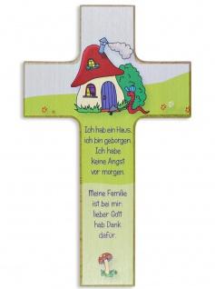 Kinderkreuz Pilz Naturholz 15 x9 cm Wandkreuz Holz Kreuz Text Ich hab ein Haus..