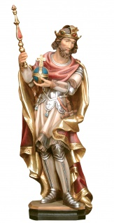 Heiliger Ethelbert mit Reichsapfel und Zepter Holzfigur geschnitzt Südtirol