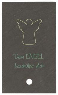 Engel Bild Dein Engel beschütze dich Schiefer Holzstab zum Aufstellen 10 cm