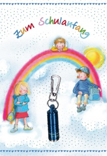 Glückwunschkarte Schulanfang 5 St Kuvert Taschenlampe Irmgard Partmann Schulkind