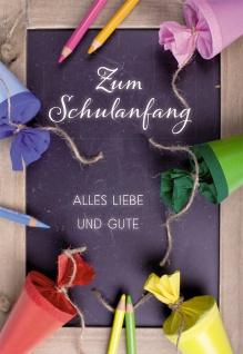 Glückwunschkarte Zum Schulanfang alles Liebe (6 St) Sinnspruch Grußkarte Kuvert