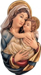 Wandrelief Mutter Gottes Holz geschnitzt handbemalt Maria mit Kind Schnitzkunst