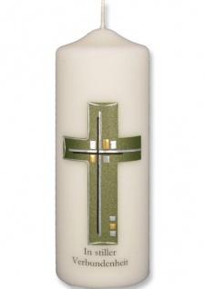 Trauerkerze In stiller Verbundenheit Kreuz Grün Gold 22 cm Handarbeit Tischkerze