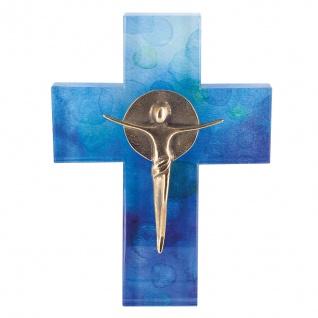 Kreuz aus Glas Korpus Bronze Kreuz 18 cm Wandkreuz Kruzifix Modern