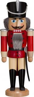 Nussknacker Husar Esche lasiert rot 37 cm Holz-Figur Handarbeit Erzgebirge