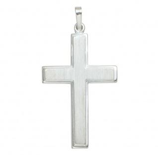 Anhänger Kreuz schlicht 925 Sterling Silber mattiert Kreuzanhänger Silberkreuz