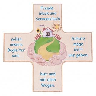 Kinderkreuz Haussegen Kreuzform Sonne Buchenholz Kunstdruck 12 cm Wandkreuz Text
