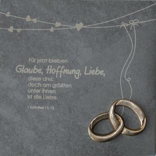 Wandrelief Glaube, Liebe, Hoffnung 1. Korinther 14, 5 cm Schiefertafel